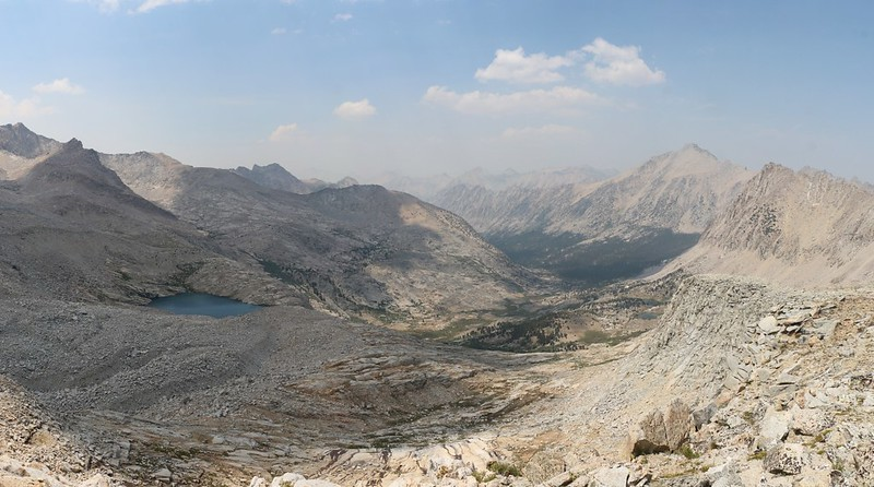 View north down the Bubbs Creek drainage from the John Muir Trail on the ridge north of Forester Pass