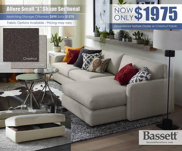 Allure Bassett Small L Shape Sectional_