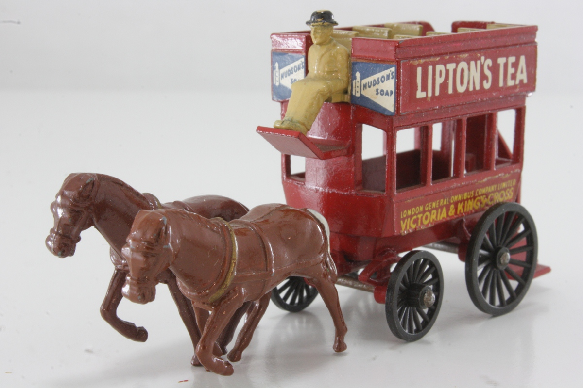 Die-cast metal toy of a horse-bus by Matchbox, 1899.