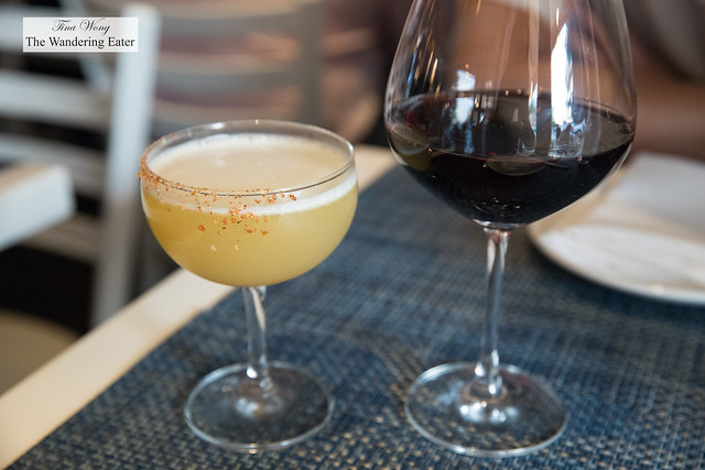 El Joven (Tequila, pineapple juice, agave, ginger, lime, bianco, paprika, sea salt) Xinomavro blend, Pandeia 2014 Chatzivaritis