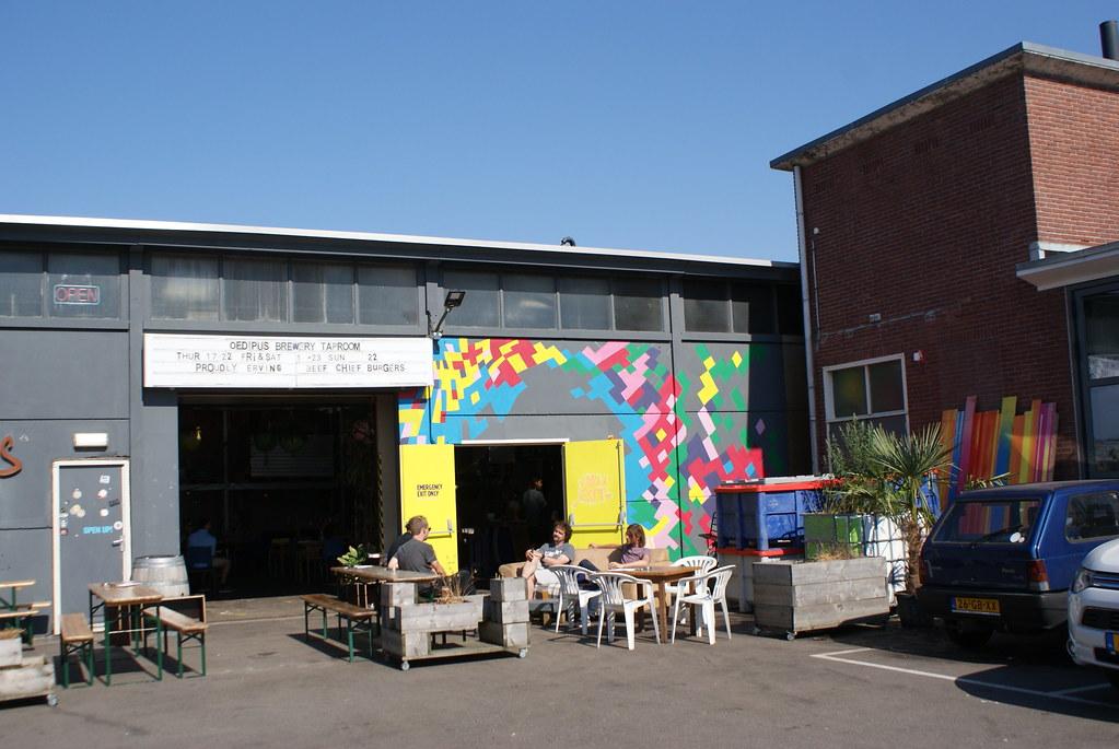L'entrée de l'Oedipus brewery tap room dans le nord d'Amsterdam.