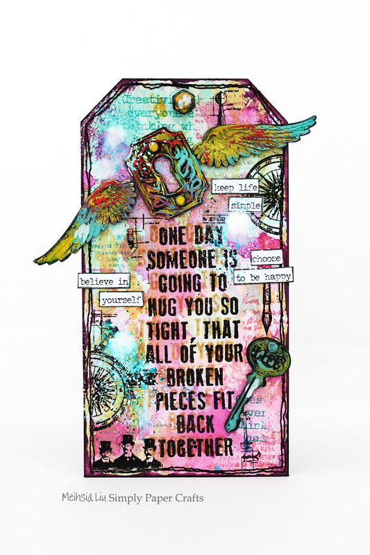 Meihsia Liu Simply Paper Crafts Mixed Media Tag Splatters and Sprinkles Simon Says Stamp Challenge Tim Holtz