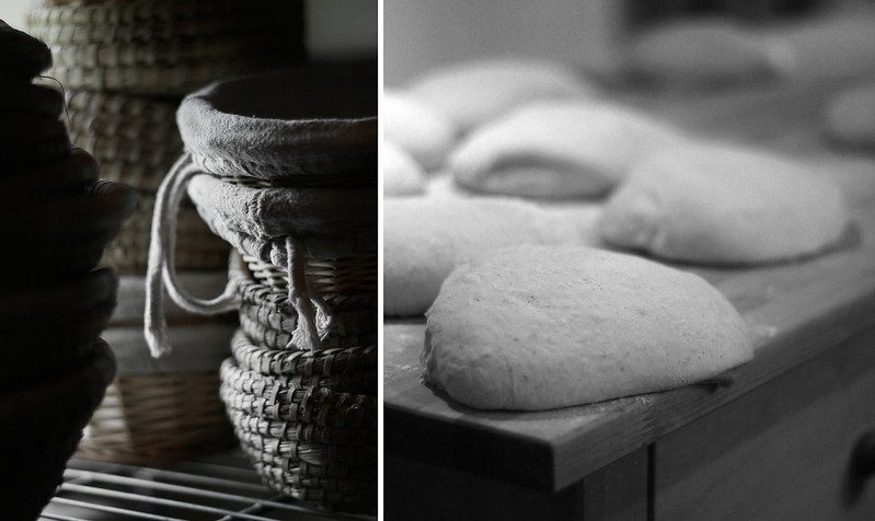 Baskets and resting dough