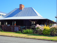 Gayndah. Old 1850s cottage with steep roof. Gayndah was established in 1849.