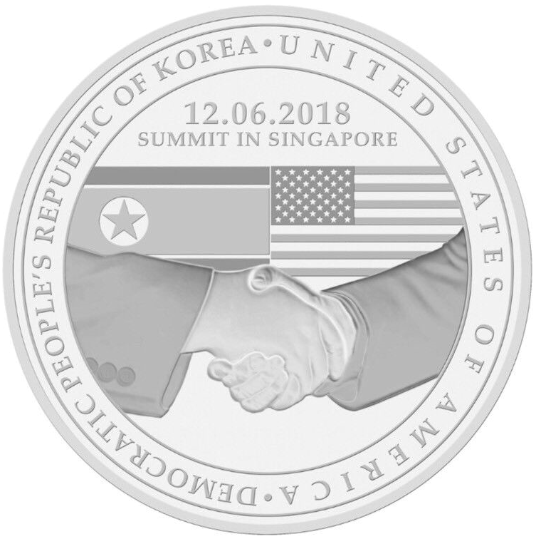 One of several commemorative medallions and coins sold in conjunction with the 2018 Singapore Summit between North Korea and the United States.
