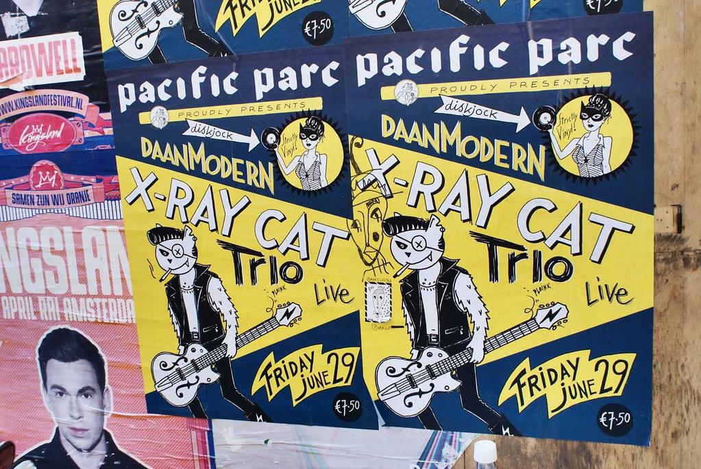 Affiche pour un concert du X Ray cat trio à Amsterdam.