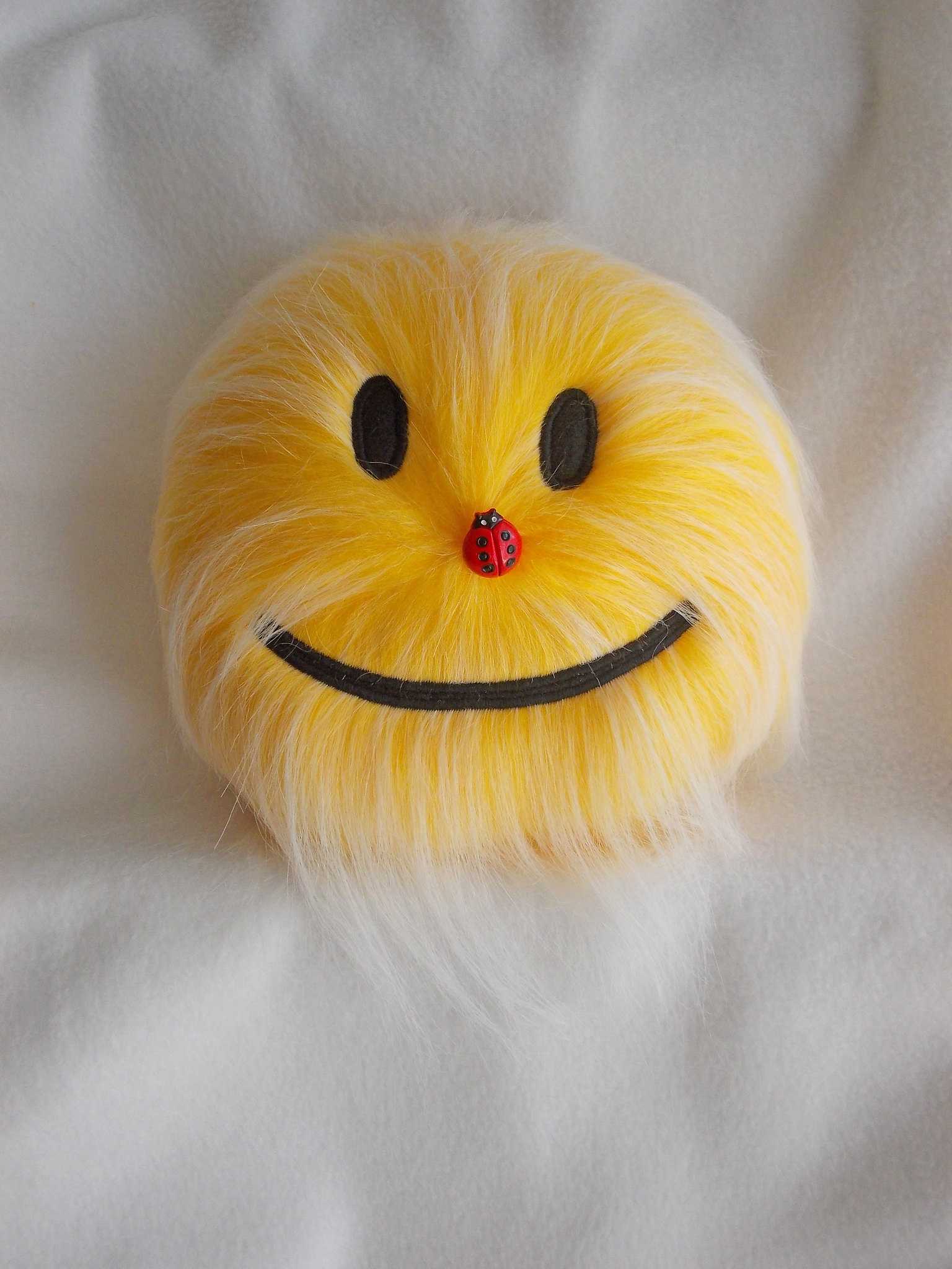 furry yellow plush smiley face stuffed toys_100