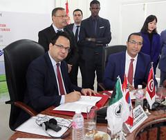 Signture du memorandum  : Zied Laadheri et Mohamed El Azizi