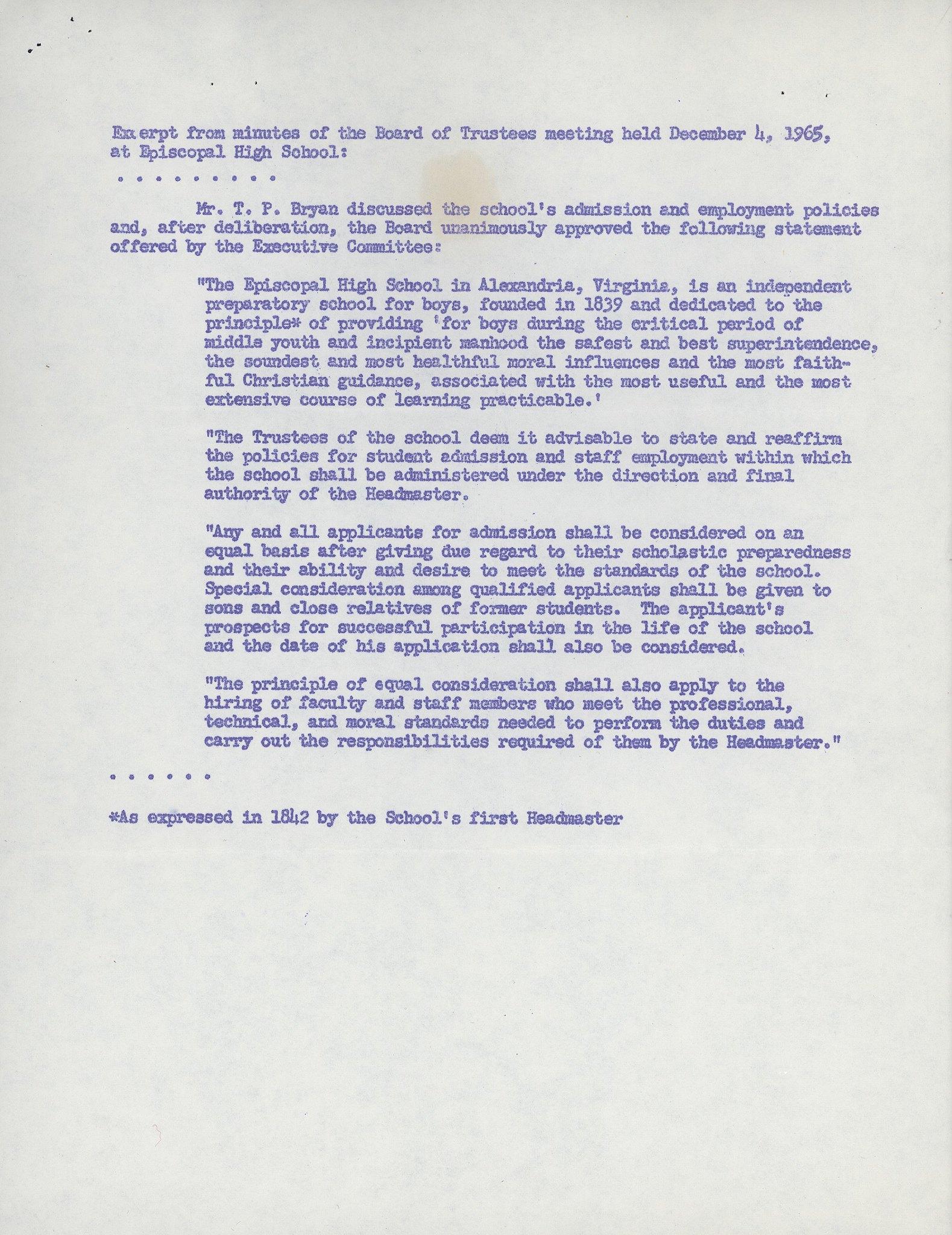 Attachment to Memo to the Board Announcing Acceptance Attachment March 1968