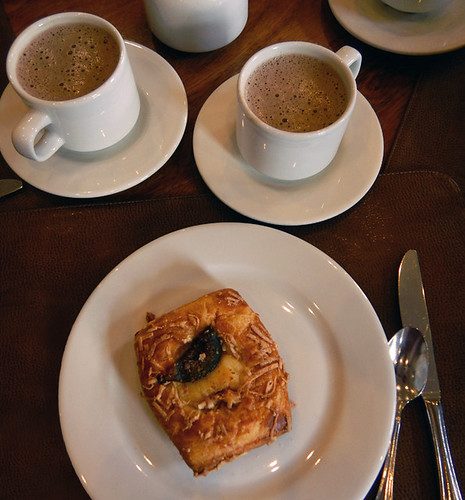 A pastry and hot chocolate for breakfast at Cardenal in Mexico City