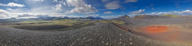 Vue panoramique sur l'Hekla et la fissure de Valagjiá