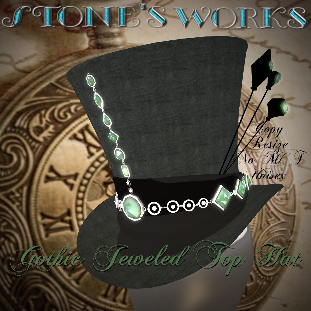 Jeweled Goth Top Hat Emerald Stone's Works