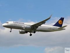 Lufthansa A320-214 D-AIUT landing at LHR/EGLL