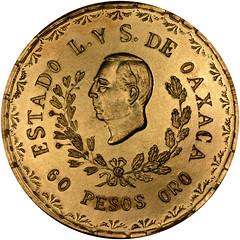 1916 Mexico Gold 60 Pesos Oaxaco obverse