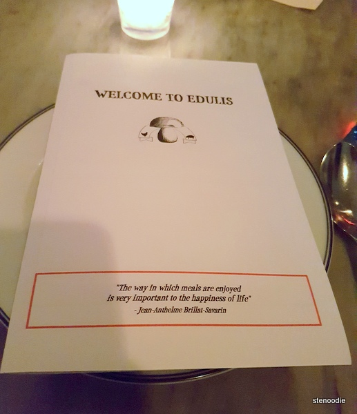 Edulis Restaurant menu cover