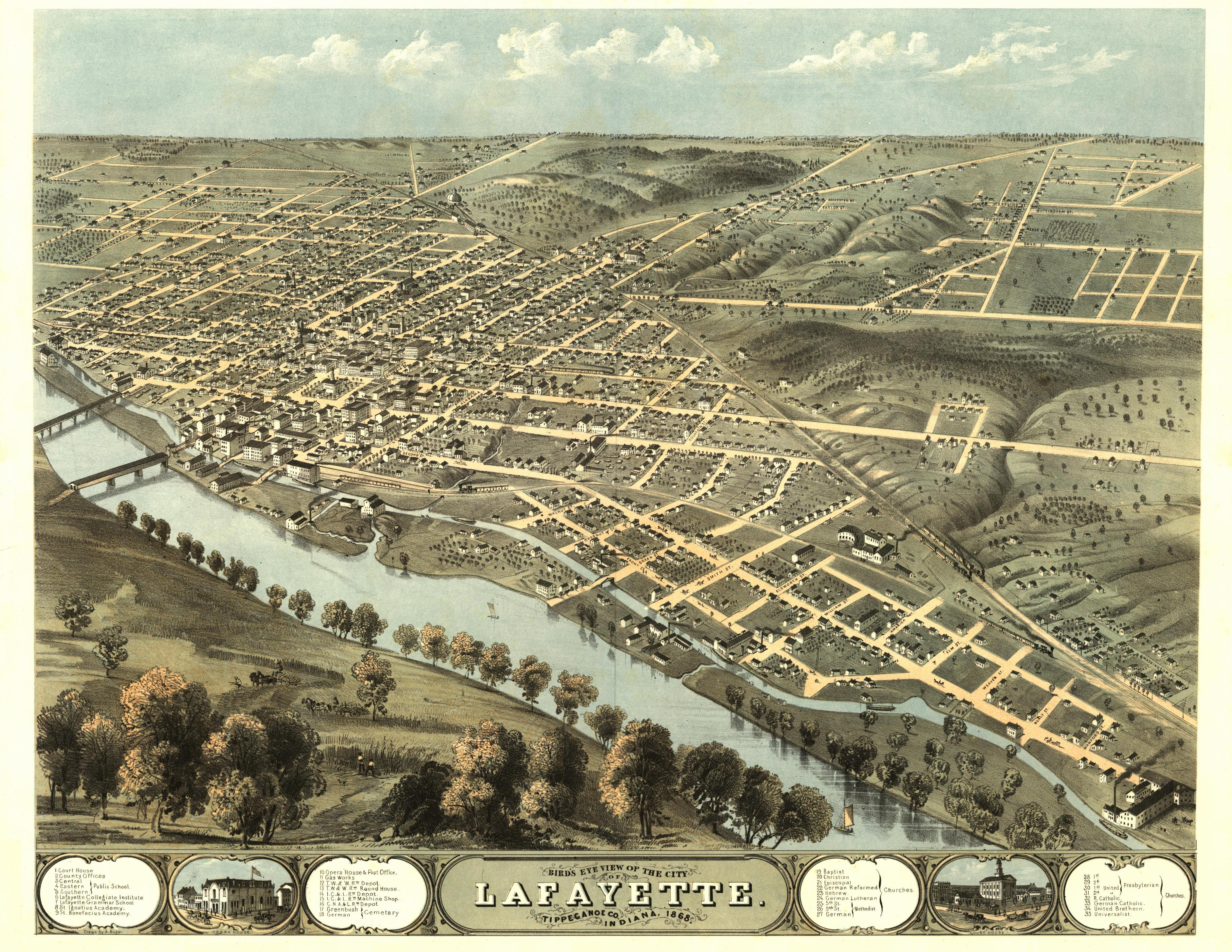 This panoramic map from LC Panoramic maps (2nd ed.), page 2, illustrates a bird's-eye view of Lafayette, Indiana in 1868. Drawn 1868 by A. Ruger and published in Chicago by Chicago Lith. Co., the perspective map is indexed for points of interest.