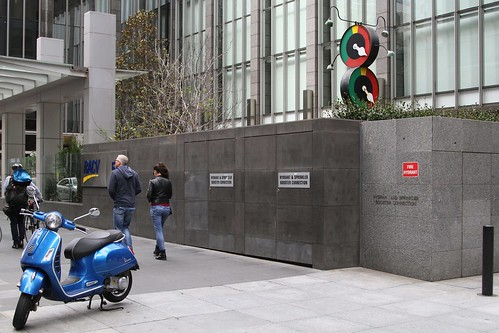 Marshalite rotary traffic signal on display outside the RACV head office at 501 Bourke St, Melbourne