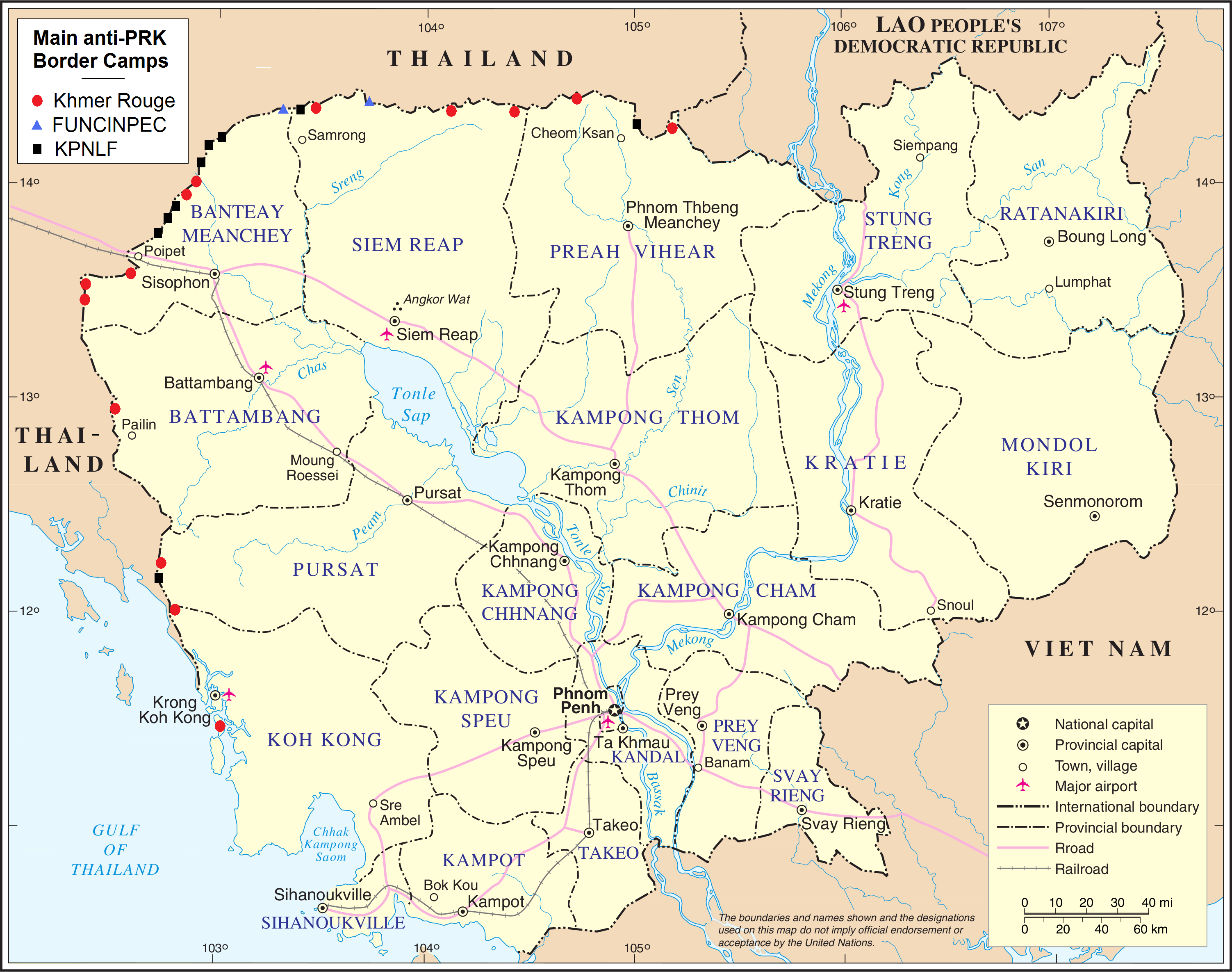 Map indicating main anti-PRK refugee camps along the border with Thailand.