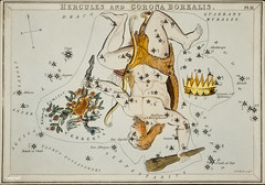 Sidney Hall's (1831) astronomical chart illustration of the Hercules and the Corona Borealis. Original from Library of Congress. Digitally enhanced by rawpixel.