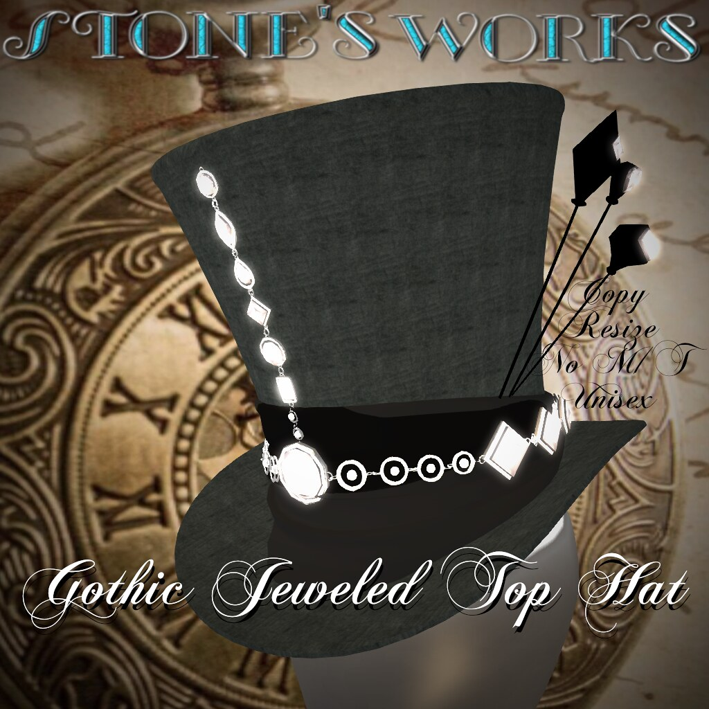 Jeweled Goth Top Hat Diamond Stone's Works - TeleportHub.com Live!