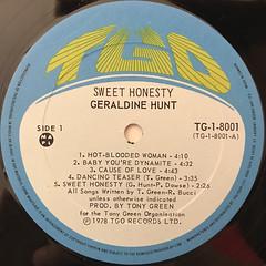 GERALDINE HUNT:SWEET HONESTY(LABEL SIDE-A)