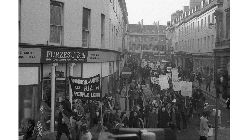 Students march through the City of Bath to protest against government policy relating to education and student grants, December 1973 (UPC/MISC/848)