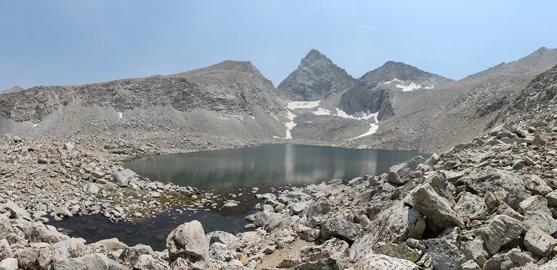 Junction Peak (center) with Forester Pass (right) beyond the highest lake in the Bubbs Creek drainage