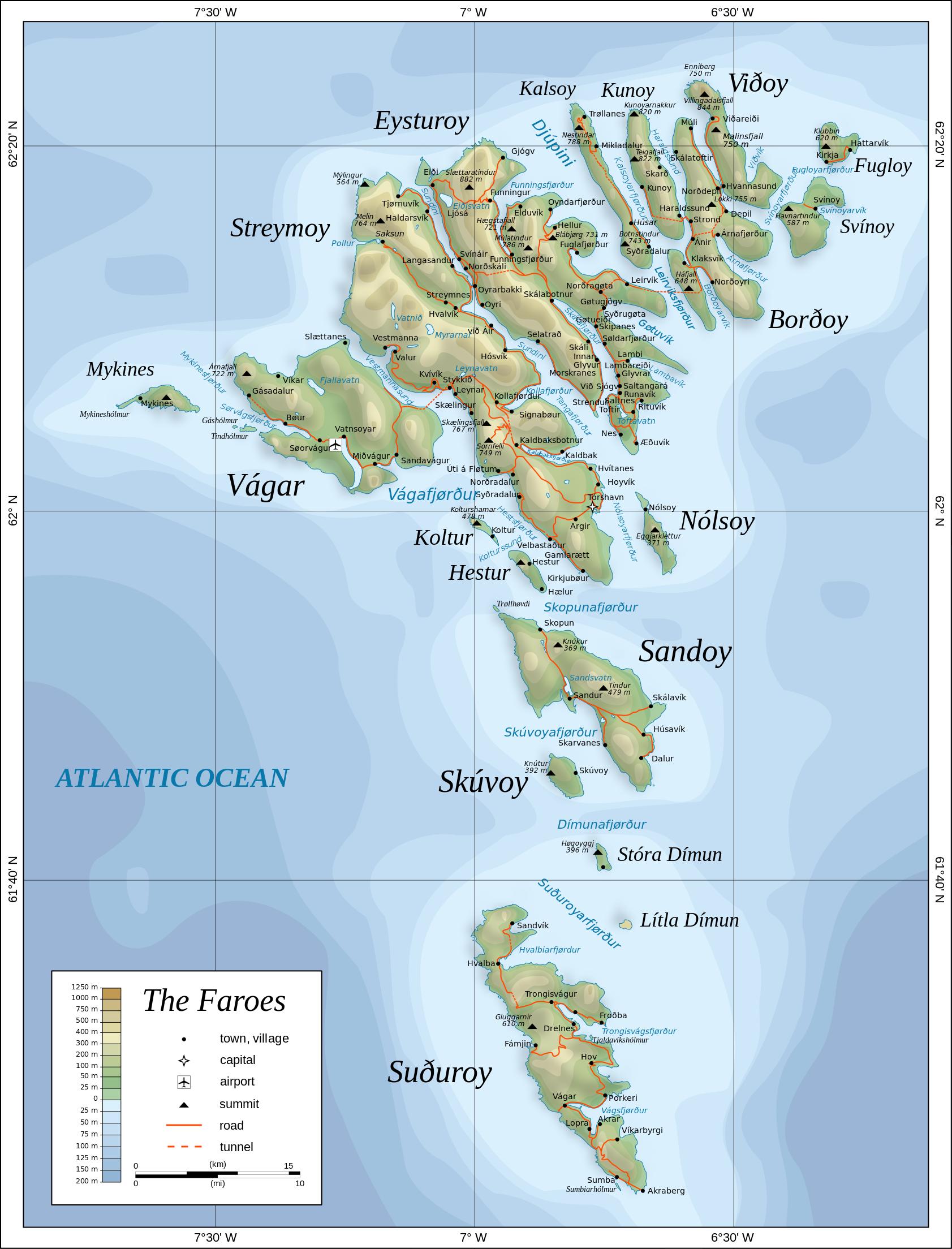 Map of the Faroe Islands