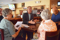 Rep. Ackert answers questions from Coventry residents during a Pints and Politics event.