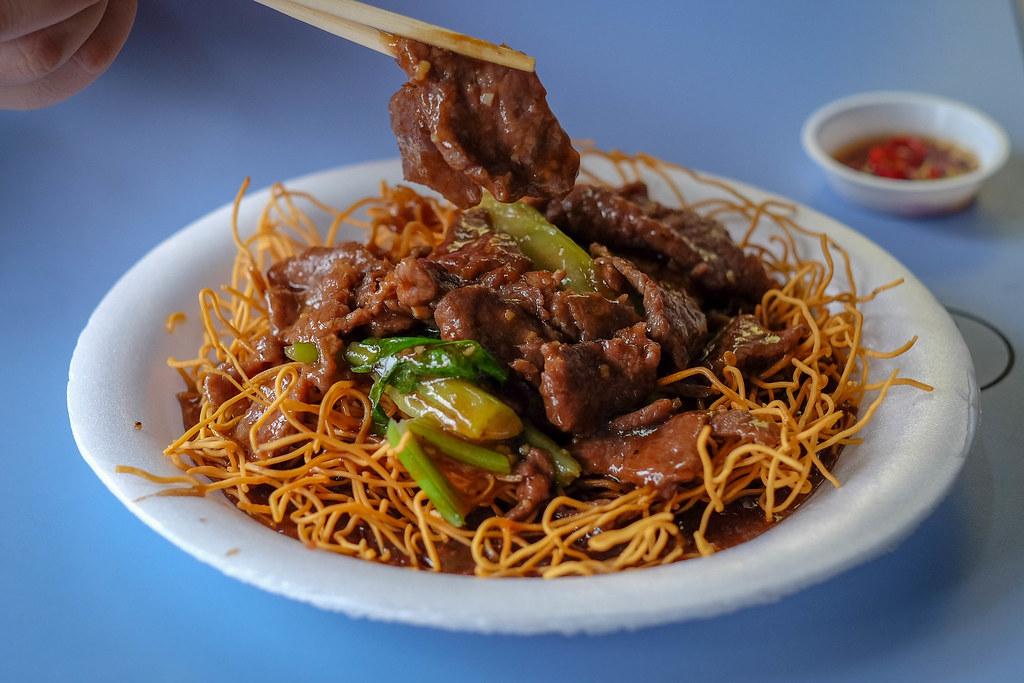 An Ji crispy beef noodles closeup