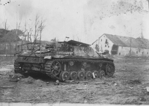 Knocked Out German SAU StuG III + B04 in Fishhausen  East Prussia April 1945.