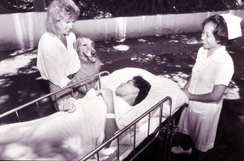 Max Dr. Dog at Hong Kong's Duchess of Kent Children's Hospital in 1991