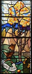 autumn: rabbit, birds and corn stooks beneath an apple tree in fruit (Powell & Sons, 1936)