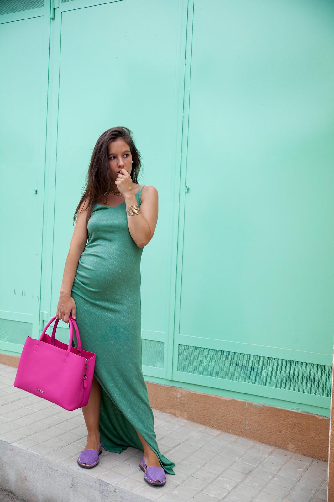 vestido turquesa embarazada
