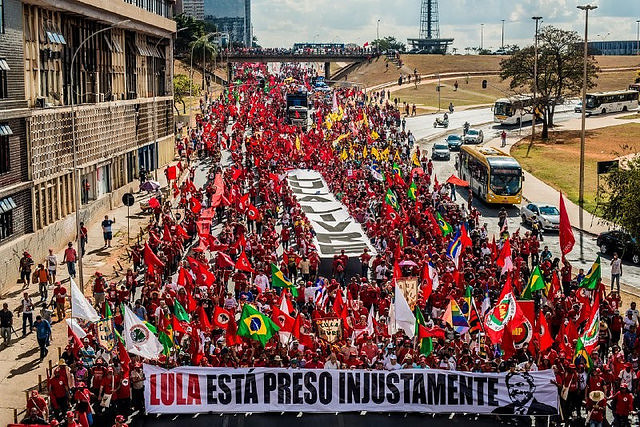 """A lie cannot destroy a 40-50-year relationship with the people,"" said Lula's running mate, Fernando Haddad - Créditos: Matheus Alves"