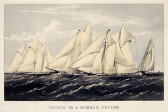 Yachts on a summer cruise published by Currier & Ives. Original from Library of Congress. Digitally enhanced by rawpixel.