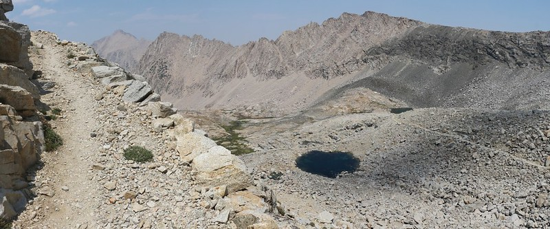 Looking back down at the John Muir Trail, with University and Center Peaks on the far left