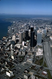 Aerial of downtown skyline, 1985