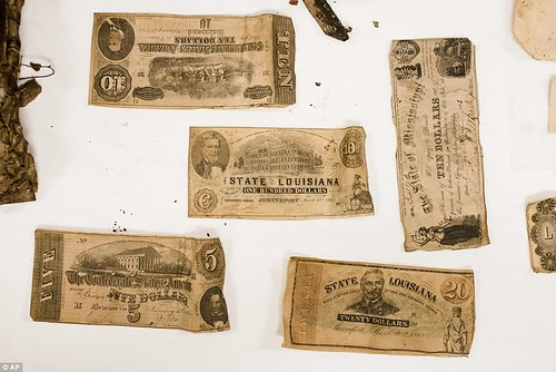Paper Money from Beauregard statue time capsule
