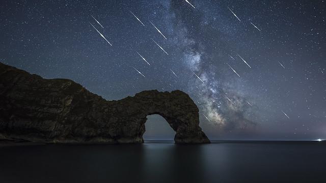 Perseid Meteors above Durdle Door