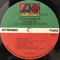ARETHA FRANKLIN:HEY NOW HEY(THE OTHER SIDE OF THE SKY)(LABEL SIDE-B)