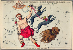 Sidney Hall's (?-1831) astronomical chart illustration of Bootes Canes Venatici, Coma Berenices, and Quadrans Muralis. Bootes the Ploughman, and two dogs, Asterion and Chara, and the hair of Berenice forming the constellations. Original from Library