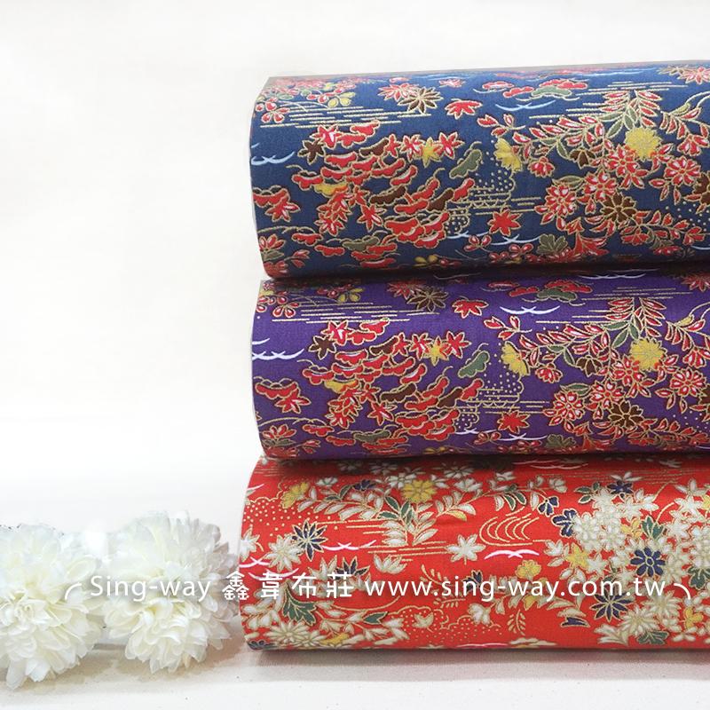 燙金風景畫 復古風 中國風 旗袍風 楓葉 手工藝DIy拼布布料 CA450741