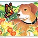 Dog with butterfly and narcisses in the countryside