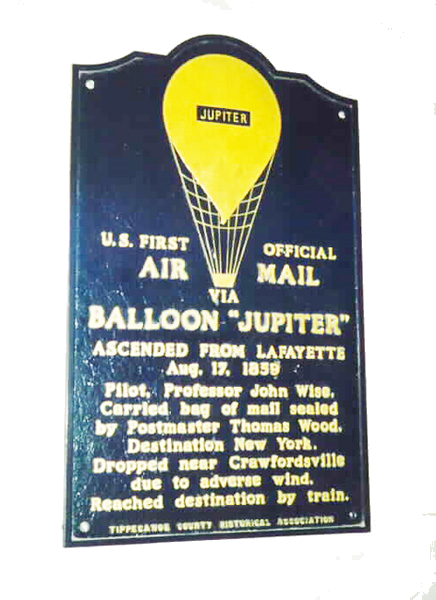 Commemorative marker in Lafayette, Indiana, honoring the flight of the balloon Jupiter on August 17, 1859.