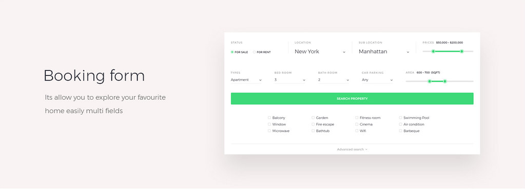booking form real estate theme