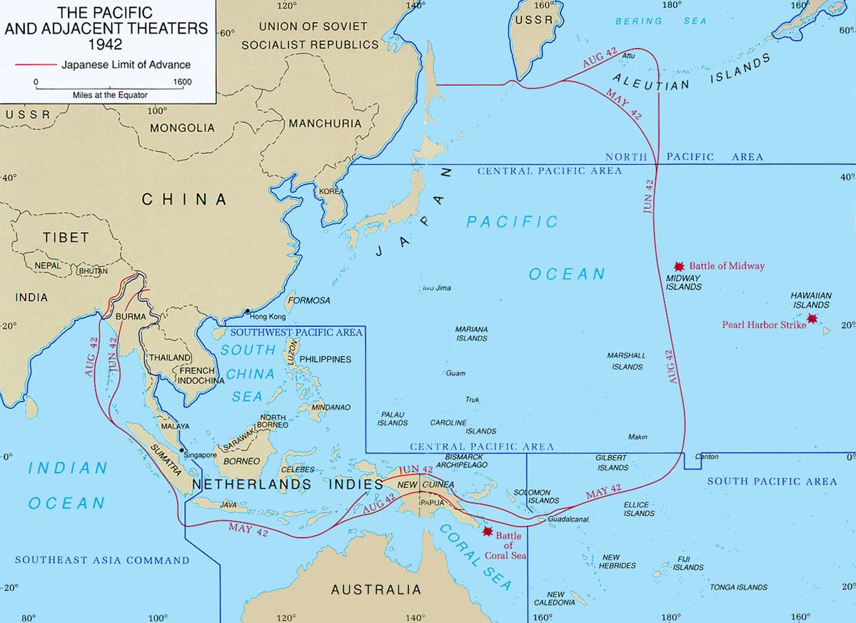 Japanese control of the western Pacific area between May and August 1942. Guadalcanal is located in the lower right center of the map.