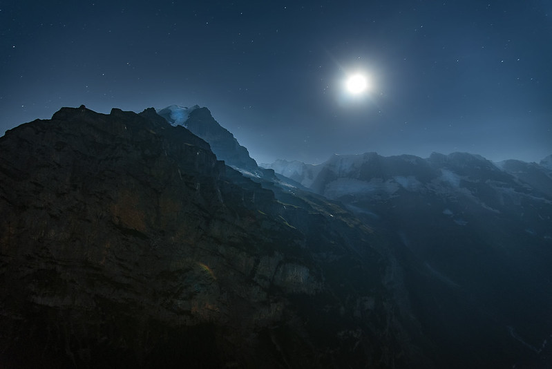 Full moon rising over the Swiss Alps