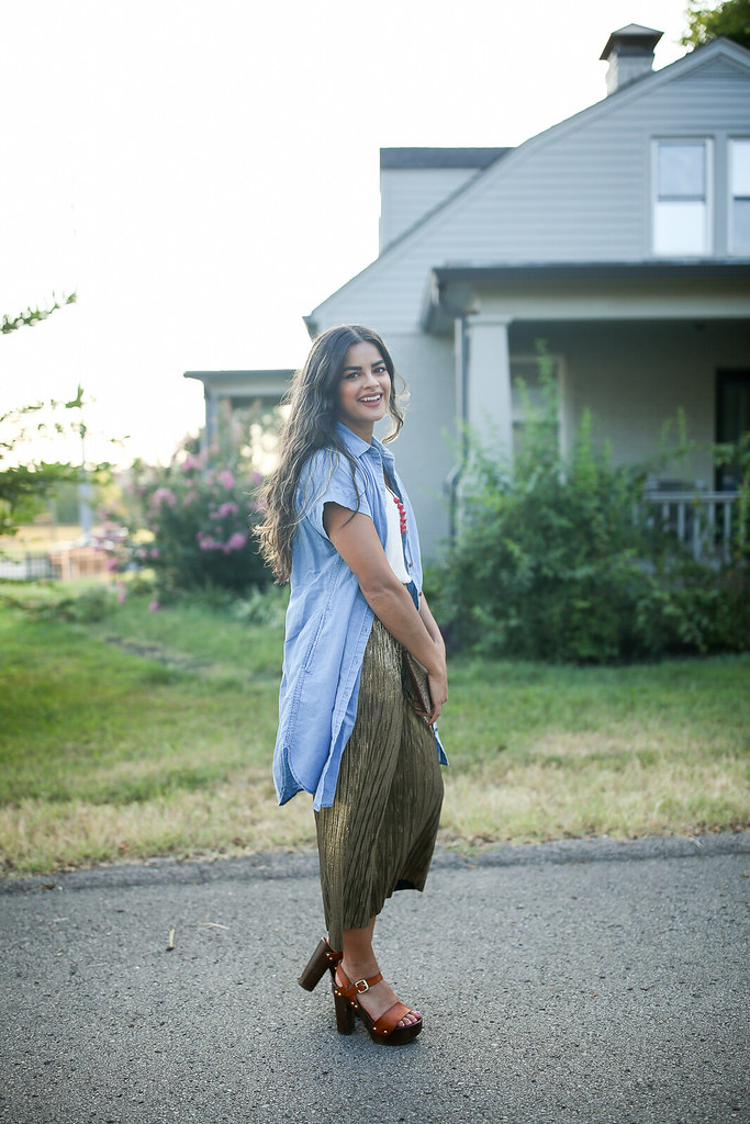 Priya the Blog, Nashville fashion blog, Nashville fashion blogger, two ways to wear metallic pants, Nashville style blog, Nashville style blogger, metallic pants, gold pants, how to wear metallic pants, Topshop pleated gold trousers for Summer, Summer outfit with metallic pants, casual outfit with metallic pants, Madewell chambray dress, Target clog sandals