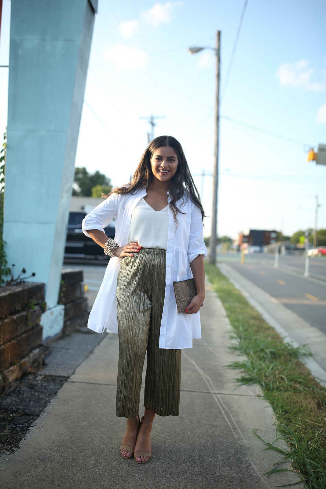 Priya the Blog, Nashville fashion blog, Nashville fashion blogger, Nashville style blog, Nashville style blogger, Topshop metallic trousers, how to wear metallic pants, gold pants for Summer, Summer outfit with metallic pants, Topshop gold pants, Zara swing dress, the Nations Nashville